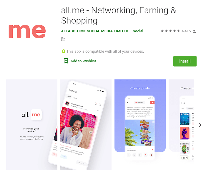 all.me Networking Earning Shopping - Social Media Influencing apps for mobile to try