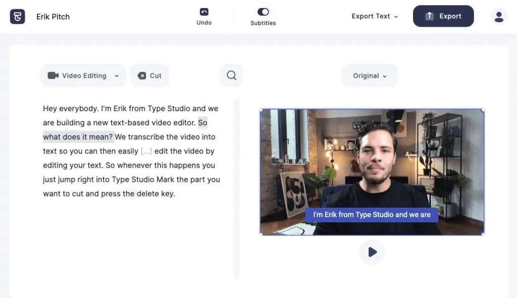 Type Studio Editor panel displaying text edit capability